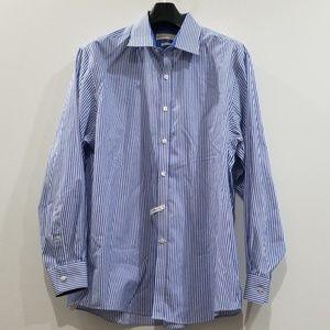 Michael Kors men's blue &white striped dress shirt
